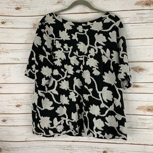 Loft top XL black gray floral short sleeve cotton